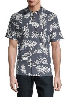 Vince Classic-Fit Leaf-Print Shirt