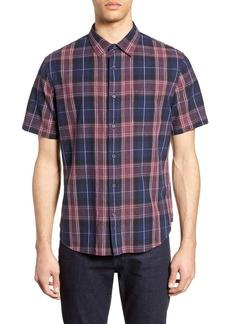 Vince Classic Fit Plaid Short Sleeve Linen & Cotton Shirt