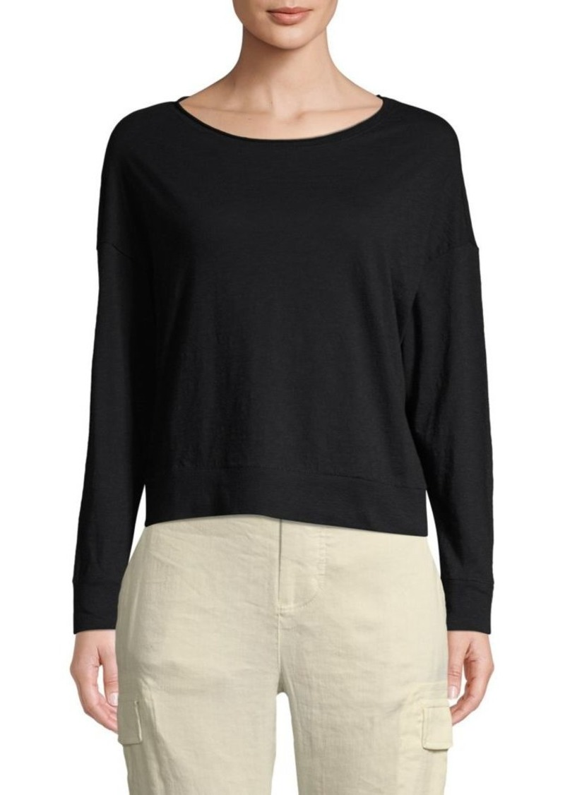 Vince Classic Long-Sleeve Cotton Top