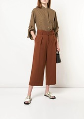 Vince collarless cropped sleeve shirt