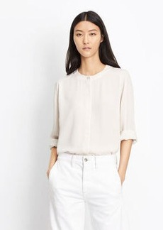 Collarless Pleat Back Blouse