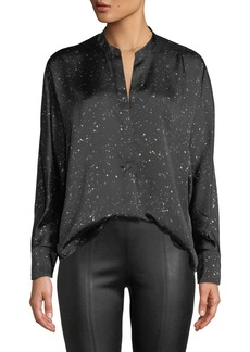 Vince Constellation-Print Satin Popover Blouse