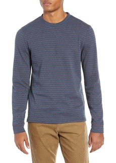 Vince Cotton Blend Stripe Crew Neck T-Shirt