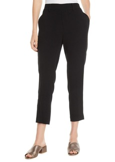 Vince Crepe Satin-Stripe Cropped Pull-On Pants