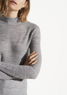 Vince Crepe Wool Funnel Neck