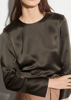 Vince Crew Neck Silk Blouse