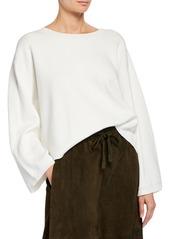 Vince Crewneck Long-Sleeve Cropped Cotton Top