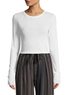 Vince Crewneck Long-Sleeve Rib-Knit Top