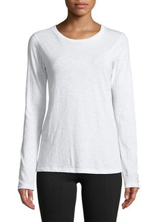 Vince Crewneck Long-Sleeve Slub Pima Cotton Top