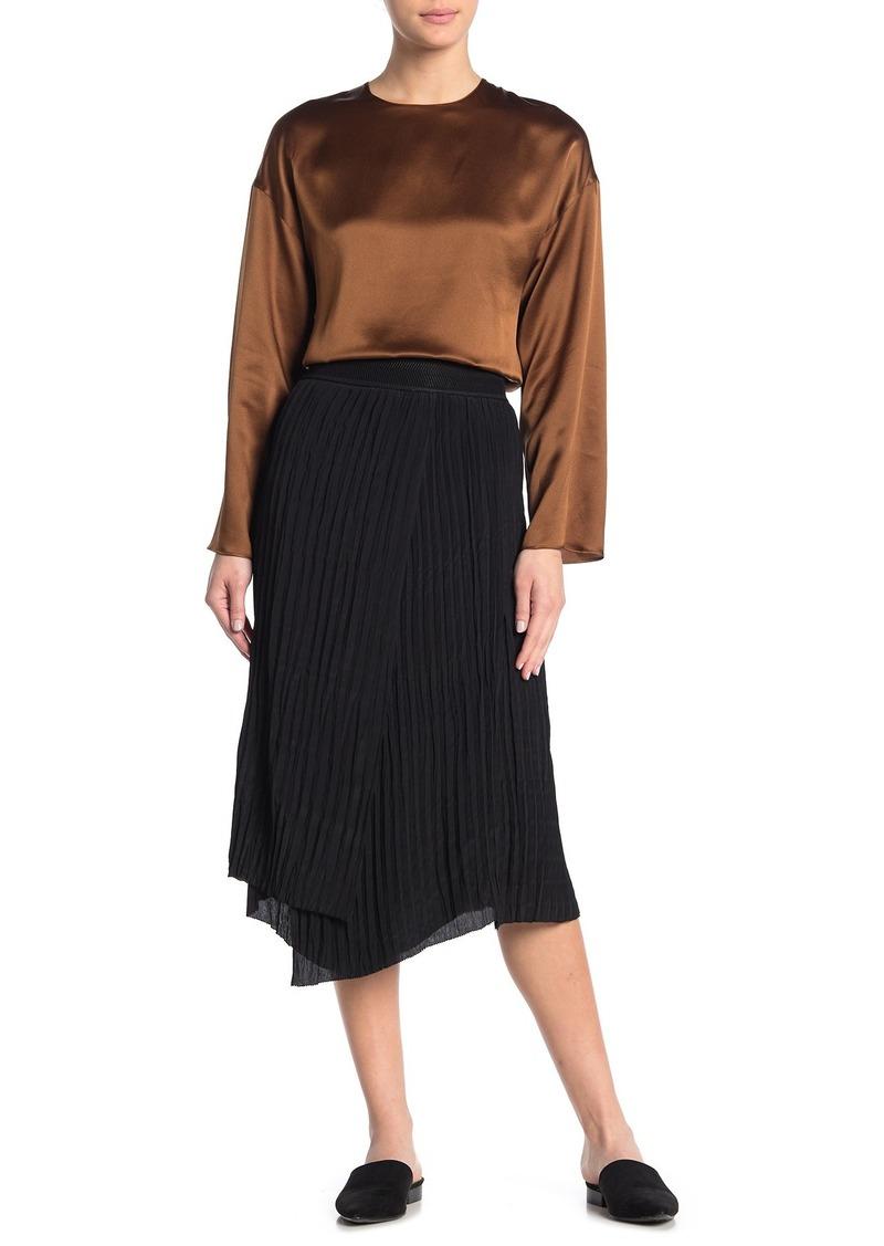 Vince Crinkle Pleat Pull-On Skirt