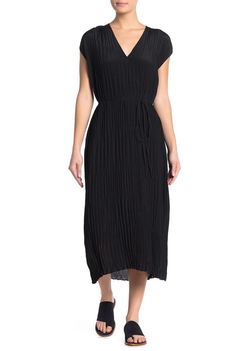Vince Crinkle Pleat V-Neck Dress