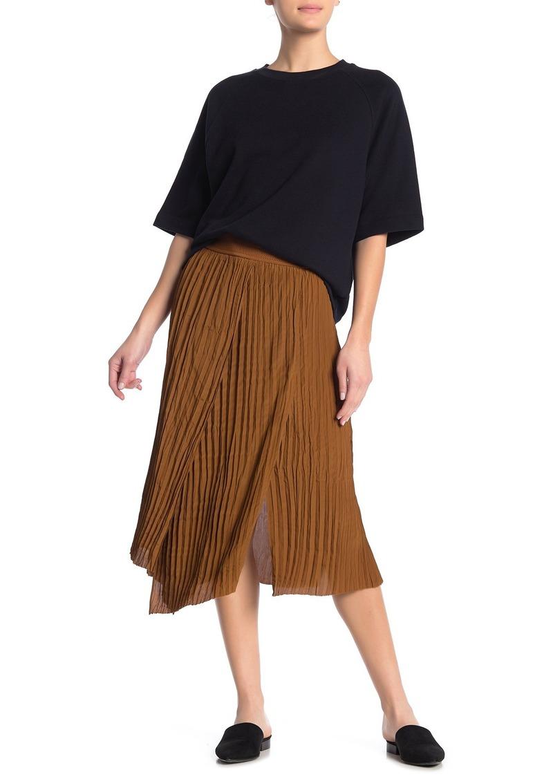 Crinkle Pleated Pull-On Skirt