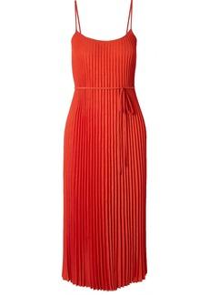 Vince Crinkled Plissé-crepe Midi Dress