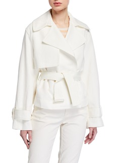 Vince Cropped Belted Linen-Blend Jacket