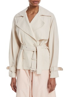Vince Cropped Double-Breasted Trench Coat