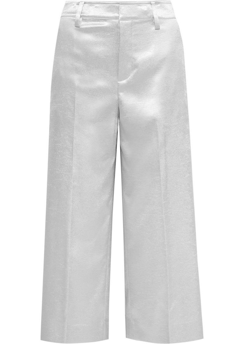 Vince Cropped Metallic Stretch-shantung Wide-leg Pants