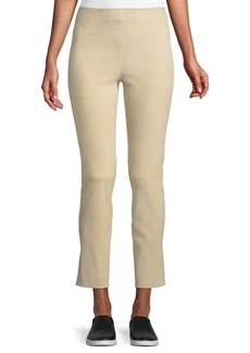 Vince Cropped Stretch-Suede Split-Hem Pants