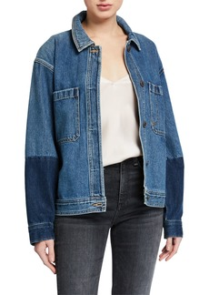 Vince Cropped Two-Tone Denim Jacket