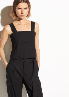 Vince Cropped Wide Strap Linen Shell