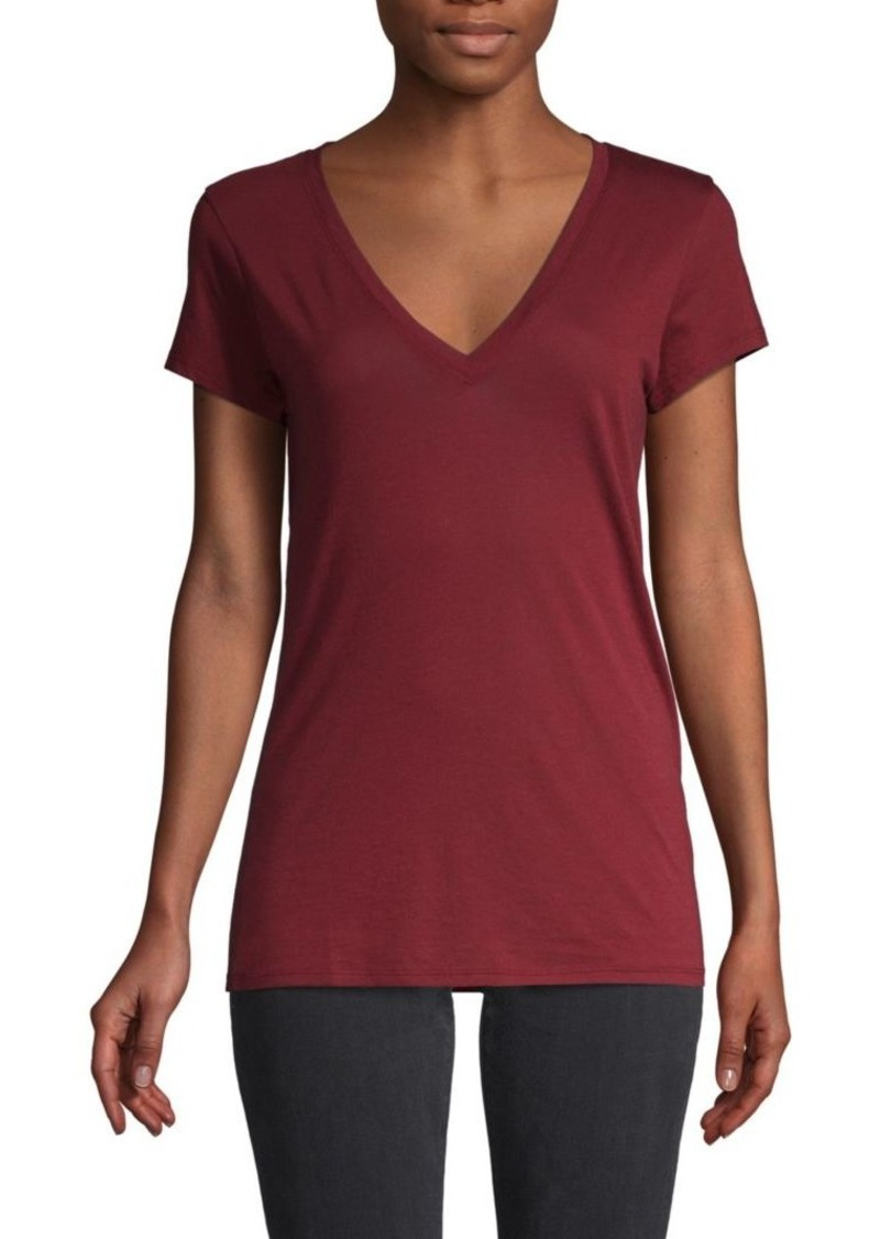Vince Deep V-Neck Cotton-Blend Tee