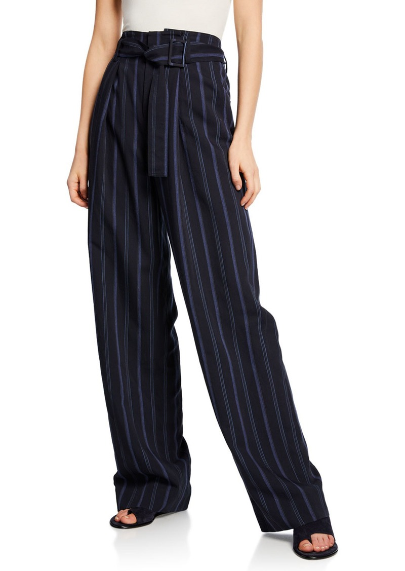 Vince Dobby Stripe Belted Wide-Leg Pants