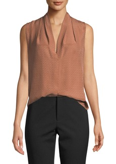 Vince Dot Jacquard Draped-Neck Silk Blouse