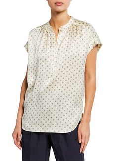 Vince Dot-Print Foulard Silk Short-Sleeve Top