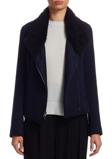 Vince Double-Faced Shearling Scuba Jacket