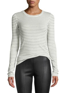 Vince Double Pinstripe Long-Sleeve Crewneck Tee