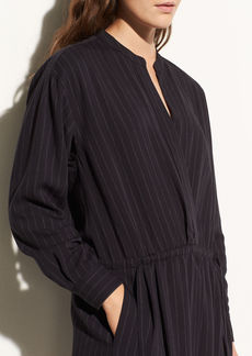 Double-Stripe Gathered Waist Shirtdress