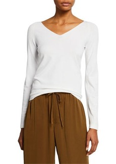 Vince Double Vee Long-Sleeve Pullover
