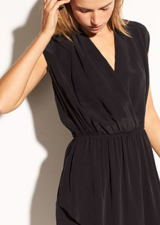 Draped Cross Front Silk Dress