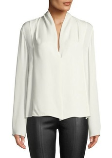Vince Draped-Neck Long-Sleeve Silk Blouse