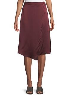 Vince Draped Panel Silk Midi Skirt