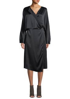 Vince Draped Silk Panel Midi Dress