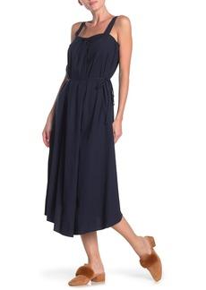Vince Draped Sleeveless Linen Blend Midi Dress