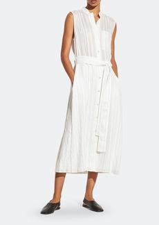 Vince Drapey Stripe Shirt Sleeveless Midi Dress