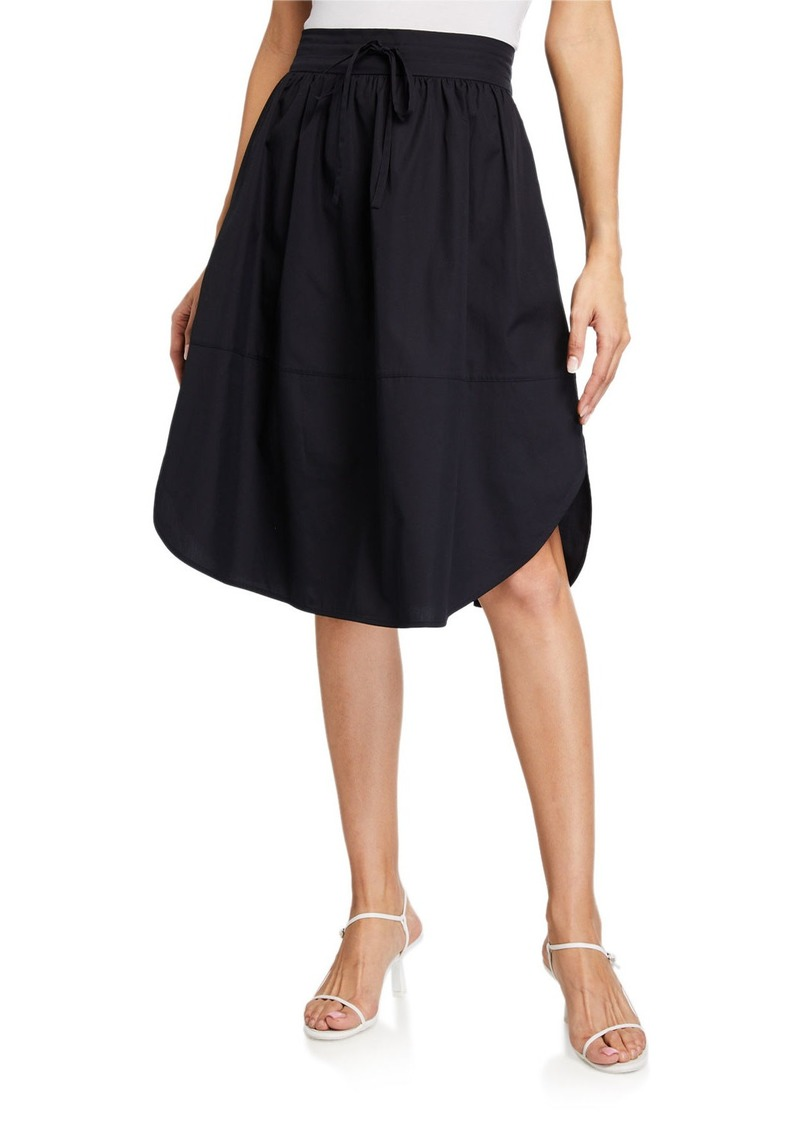 Vince Drawstring Cotton A-Line Skirt