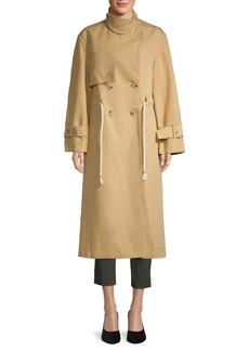 Vince Drawstring Linen Blend Long Trench Coat