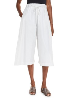Vince Drawstring Side-Slit Cropped Culotte Pants