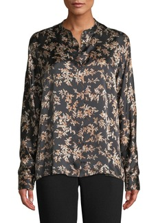 Vince Eden Leaf-Print Button-Front Silk Top