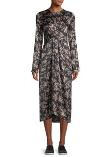 Vince Eden Leaf-Print Twist-Front Silk Midi Dress