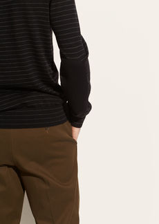 Vince Elbow Patch Striped Henley