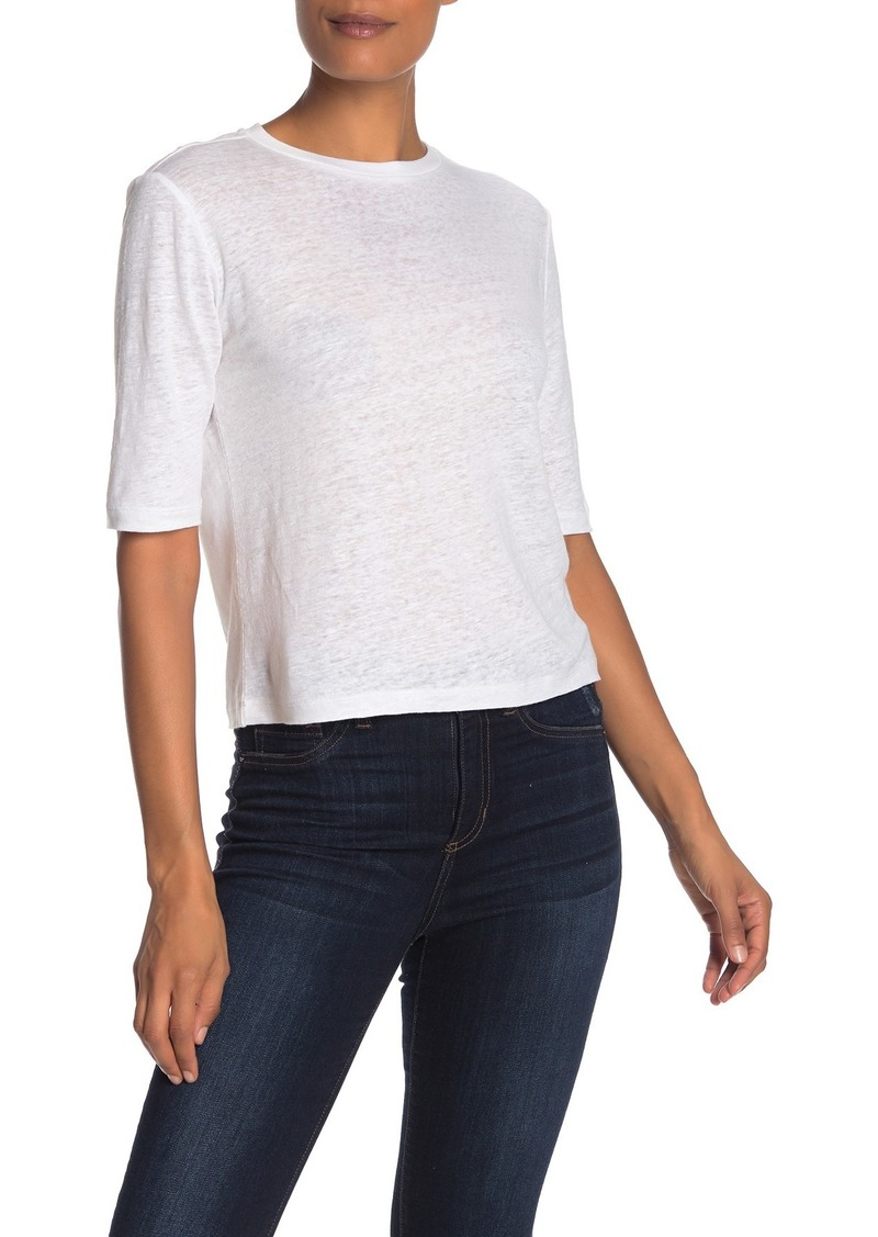 Vince Elbow Sleeve Linen Crew Neck T-Shirt