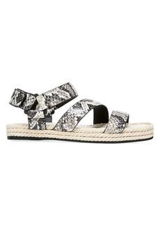Vince Elian Snakeskin-Embossed Leather Espadrille Sport Sandals