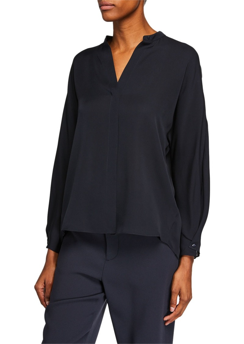 Vince Envelope-Sleeve Silk Split-Back Popover Top