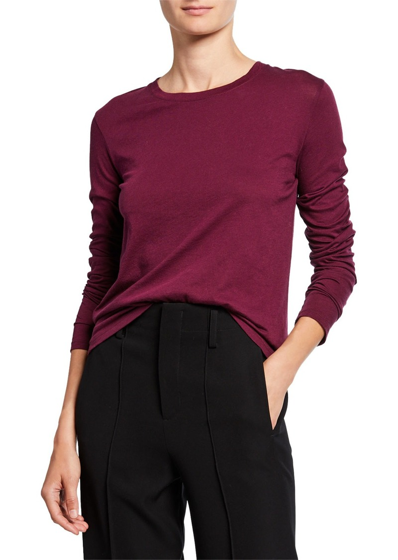 Vince Essential Crewneck Long-Sleeve Top