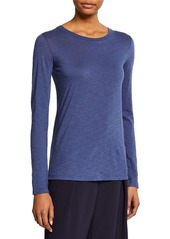 Vince Essential Long-Sleeve Pima Cotton Crewneck Tee
