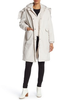 Vince Faux Fur Mixed Media Puffer Coat