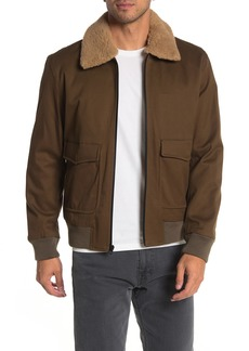 Vince Faux Shearling Trim Front Zip Bomber Jacket